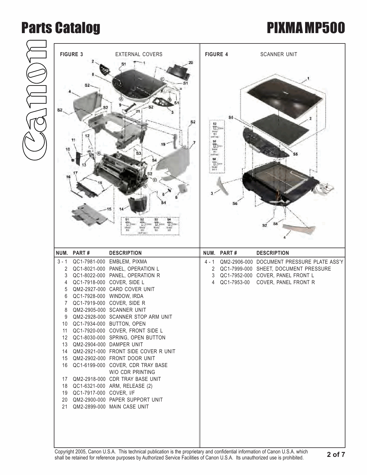 Canon PIXMA MP500 Parts Catalog Manual-3
